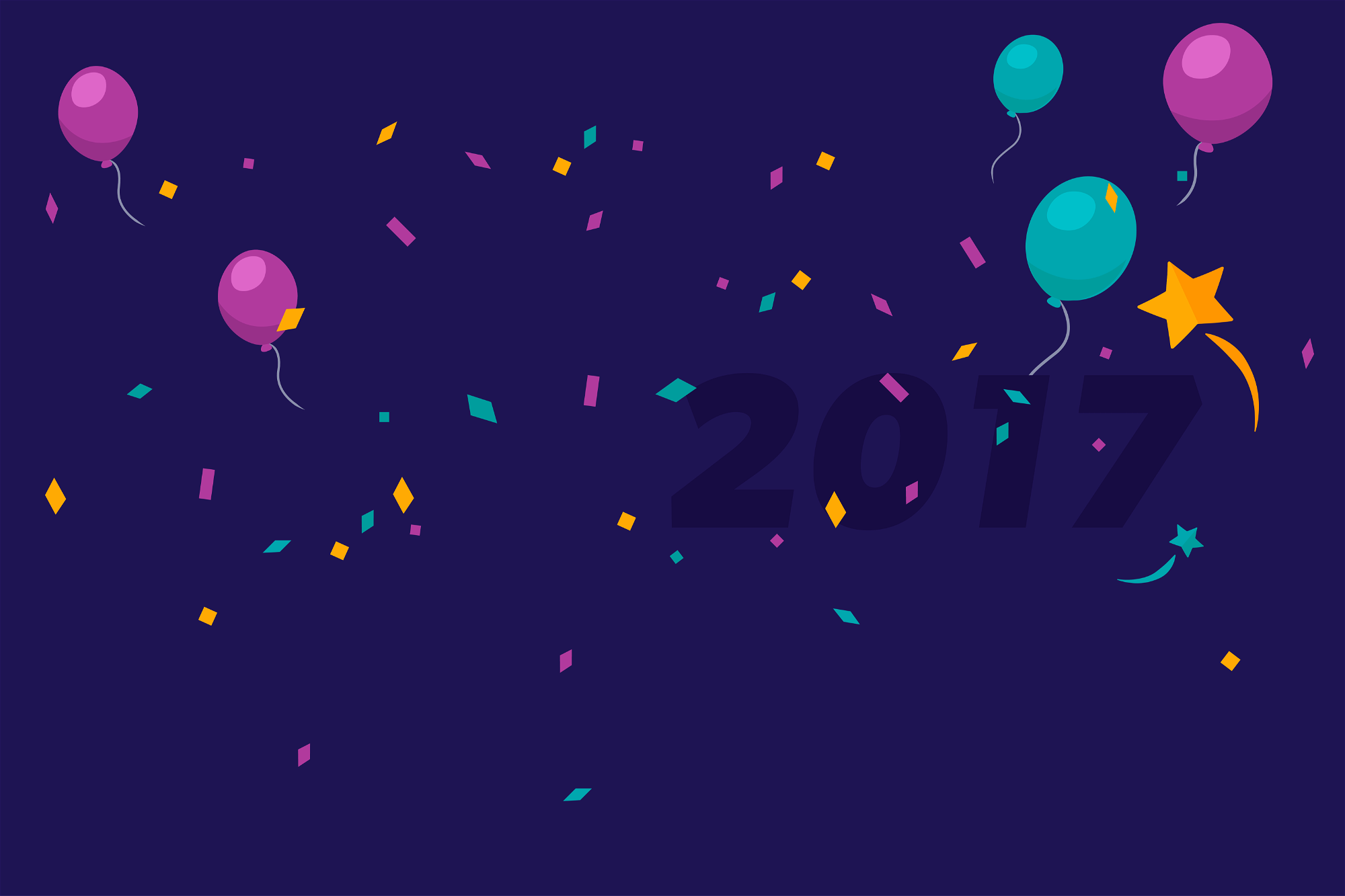 Celebration balloons and confetti graphic