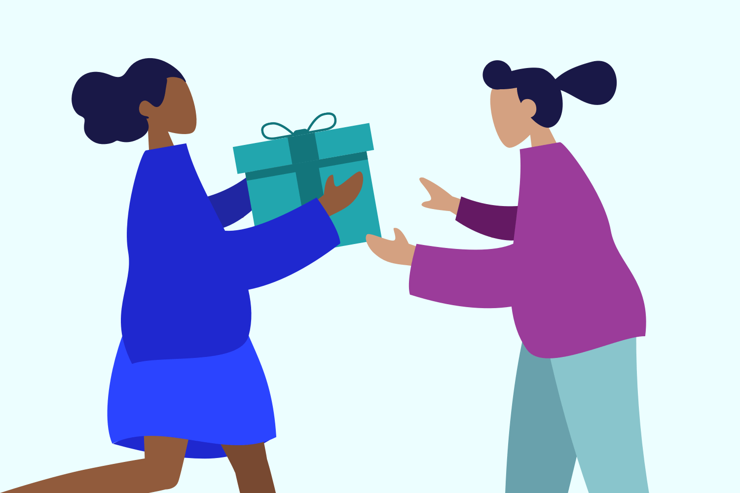 Employees exchanging a gift graphic