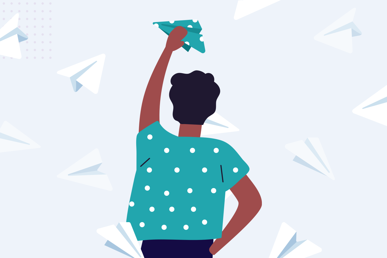 Employee reaching for email icon graphic