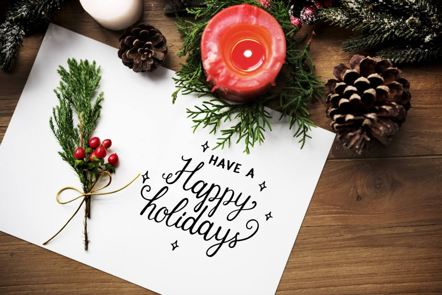 Holiday card, holiday decorations, employee holiday recognition