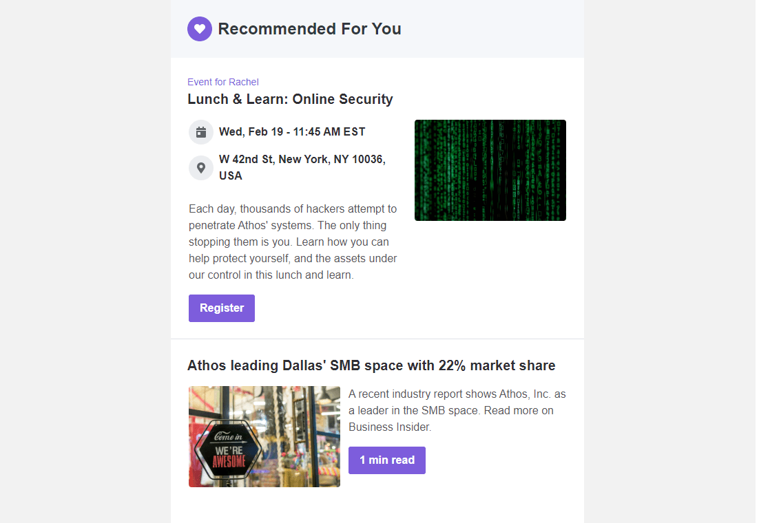 Screenshot of Cerkl's recommended for you feature