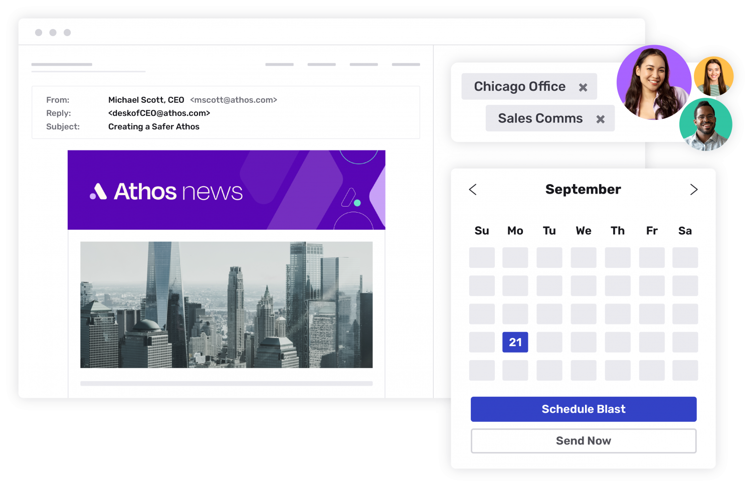 Athos corporate news email is being scheduled for the Chicago and Sales Communications segments