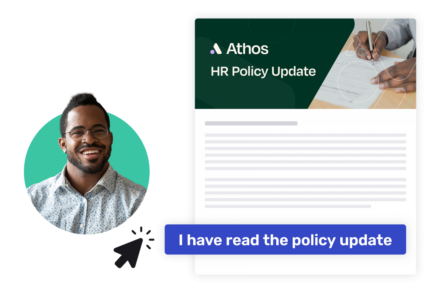 employee acknowledging that they've read the new HR policy update